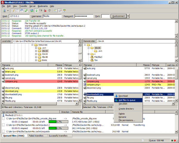 FileZilla Client - Pantalla General